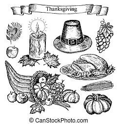 thanksgiving. hand drawing set of vector sketches