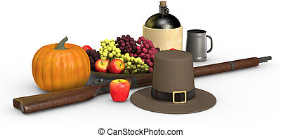 Thanksgiving Still Life on White - Thanksgiving objects on a...