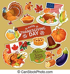 Thanksgiving symbols decoration stickers set