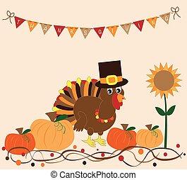 thanksgiving türkei, und, kürbise
