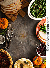 Thanksgiving table overhead shot - Thanksgiving table with...