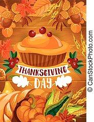 thanksgiving, tarte citrouille, bannière, sur, bois, backgorund