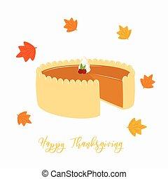 thanksgiving, tarte citrouille, vecteur