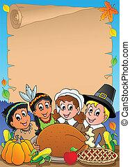 Thanksgiving theme parchment 5 - vector illustration.