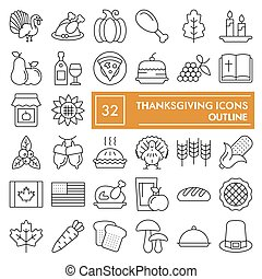 Thanksgiving thin line icon set, celebration symbols collection, vector sketches, logo illustrations, food signs linear pictograms package isolated on white background, eps 10.