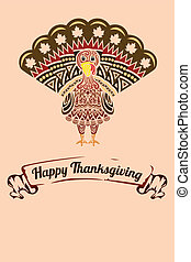 Thanksgiving turkey - A vector illustration of a...