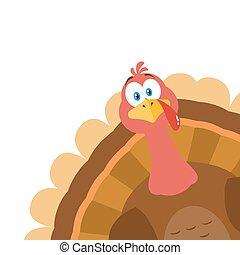 Thanksgiving Turkey Bird Cartoon Mascot Character Peeking From A Corner