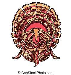 Thanksgiving turkey bird. Vector illustration.