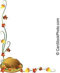 Thanksgiving turkey border - Thanksgiving border with a...