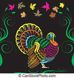 Thanksgiving Turkey Card - Vector Illustration for...