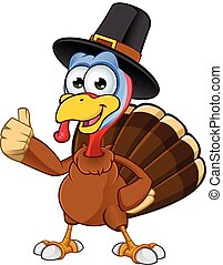 Thanksgiving Turkey Character - A cartoon illustration of a...