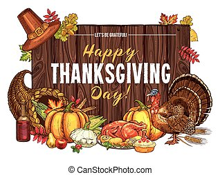 Thanksgiving turkey harvest vector sketch greeting -...