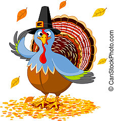 Illustration of a Thanksgiving turkey with pilgrim hat