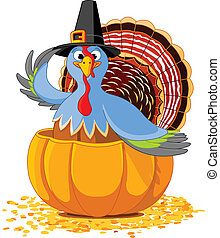 Thanksgiving Turkey in the pumpki - Illustration of a...