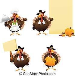 Thanksgiving Turkey Set - collection of Turkey Characters.