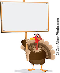 Thanksgiving Turkey Sign - Illustration of a turkey holding...
