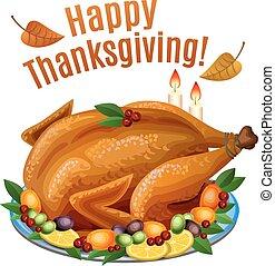 Thanksgiving Turkey on platter with garnish, roast turkey...