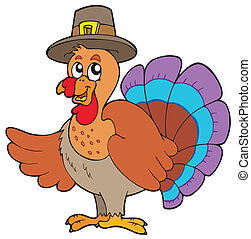 Thanksgiving turkey with hat - vector illustration.