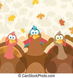 Thanksgiving Turkeys Cartoon Mascot Characters