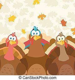 Thanksgiving Turkeys Cartoon Mascot Characters