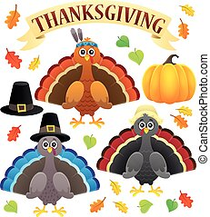 Thanksgiving turkeys thematic set 1