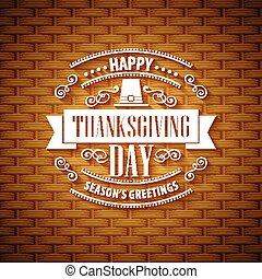 Thanksgiving typography greeting card. Wicker basket...