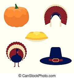 thanksgiving, vecteur, ensemble, de, icônes