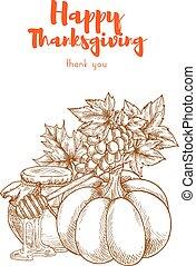 Thanksgiving vegetables harvest retro greeting