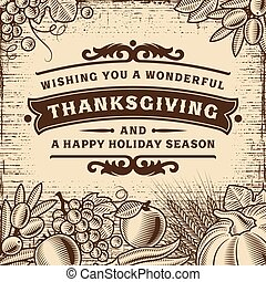 Thanksgiving Vintage Brown Card