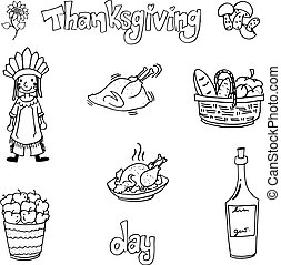 Thanksgiving with hand draw in doodle set