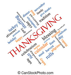 Thanksgiving Word Cloud Concept Angled