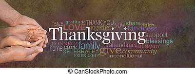 Female cupped hands cradled by male hands outstretched with a white 'Thanksgiving' word floating above and relevant word cloud on a dark stone effect background