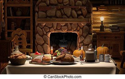 Thanksgving Cabin Dinner - A full Thanksgiving dinner on a...
