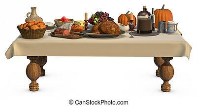Thanksgving Dinner - A full Thanksgiving dinner on a table...