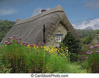 Traditional decorative thatched cottage buried in a cottage garden