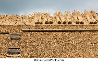 thatched dak, met, stro, en, gereedschap