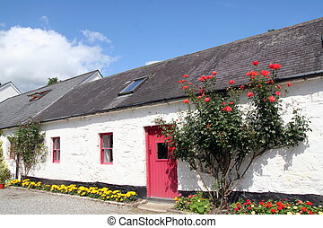 thatched, haus, irland