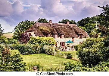 Thatched house in rural England