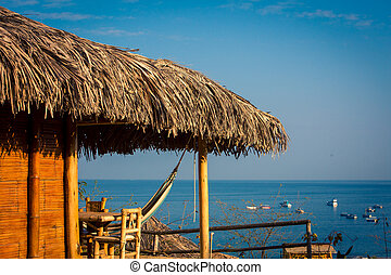 Thatched roof overlooking the pacific ocean