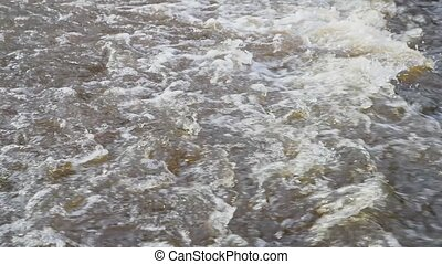 thaw and river movement in spring slow motion video.