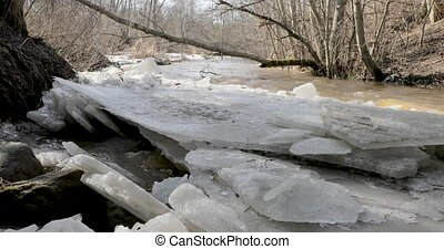 thaw and river movement through wide leaves of ice.