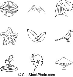 Thaw icons set, outline style - Thaw icons set. Outline set ...