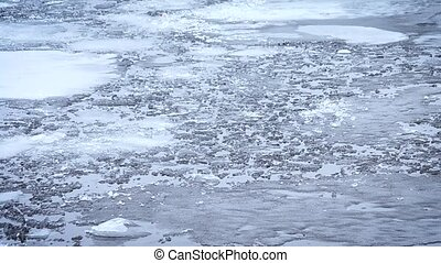 Thaw. Pieces, blocks and floes of melting ice float on water...