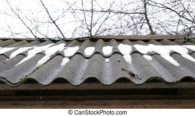 Thaw. Water from melting snow and ice drips from asbestos roof