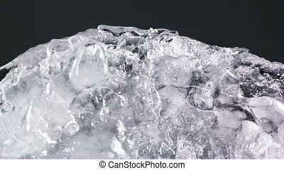 thawing ice close-up timelapse