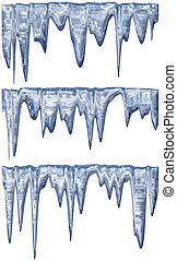 Thawing icicles - collection of three blue shade melting...