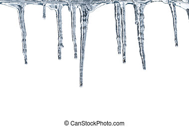 Thawing icicles isolated on white background
