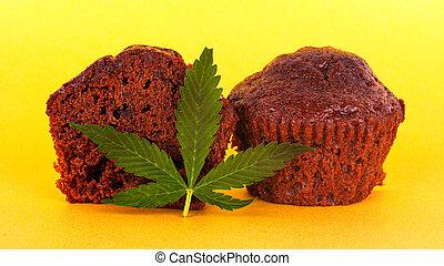 thc, amarela, extrato, bolo chocolate, fundo, brownie, marijuana., folha verde