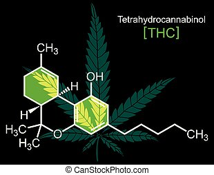 THC Molecule on Black - Concept illustration for THC, hemp ...