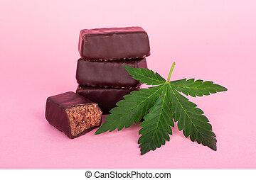 thc, nourriture, cannabis., chocolat, concentré, bonbons, ...